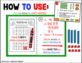 Numeracy Task Cards~ Place Value~For Math Journal