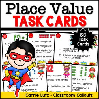 SUPERHERO MATH - Place Value Task Cards