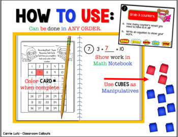 Super Numeracy Task Cards ~ Use Manipulatives to Solve ~ For Math Journal~