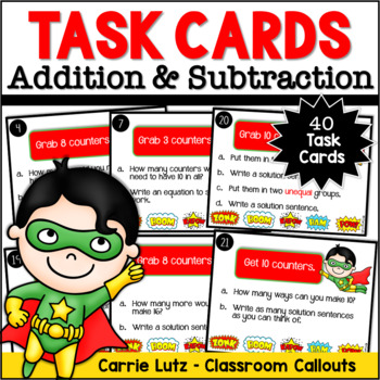Super Numeracy Task Cards ~ Use Manipulatives to Solve ~ F