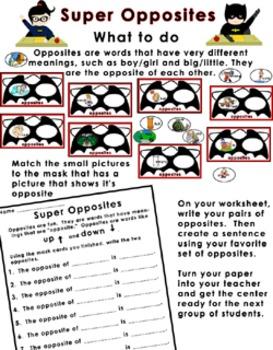 Literacy Center - Super Opposites