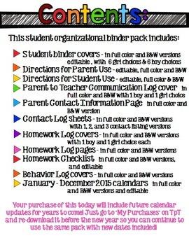 Super Organized Student Take Home Binder System [EDITABLE] CHEVRON theme!