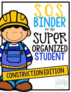 Super Organized Student Take Home Binder System [EDITABLE] CONSTRUCTION theme!