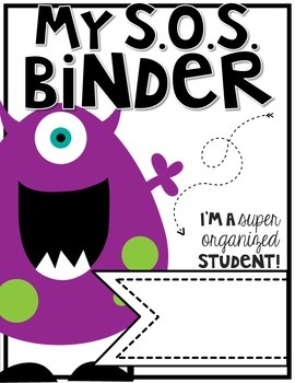 Super Organized Student Take Home Binder System [EDITABLE] >>MONSTERS theme!