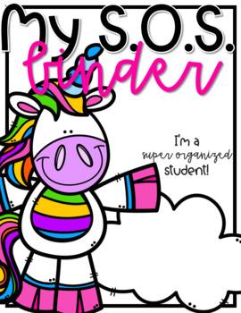 Super Organized Student Take Home Binder System [EDITABLE] Rainbow Unicorns!
