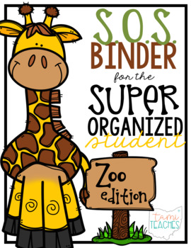 Super Organized Student Take Home Binder System [EDITABLE] ZOO ANIMAL theme!