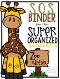 Super Organized Student Take Home Binder System [EDITABLE] ZOO ANIMAL theme!