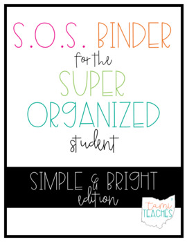 super organized student take home binder system editable simple