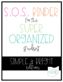 Super Organized Student Take Home Binder System [editable] SIMPLE & BRIGHT!