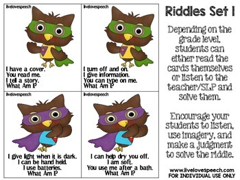 Super Owl Riddles {Speech Therapy}