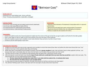 "Super PE Game - ""Birthday Cake"""