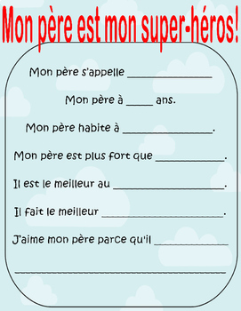 FSL French Father's Day Superhero Gift Book -Fête des pères, Super-héros