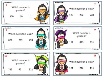 Super Penguins - Greater and Less Than with 3 Digits Task Cards