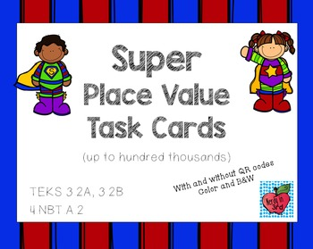 Super Place Value Task Cards with QR codes