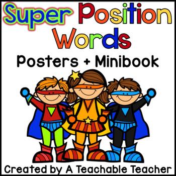 Position Words Posters + Minibook (Superhero Theme)