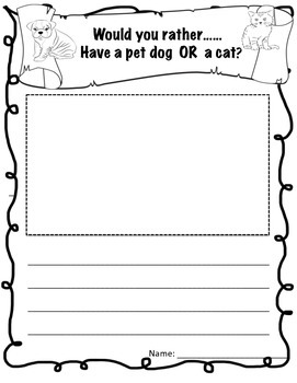 Would You Rather Animal Package: creative writing  pompts and worksheets