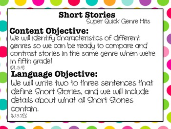Super Quick Genre Hits: Short Stories Mini Lesson