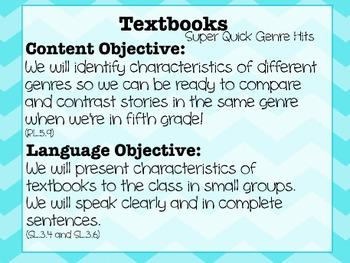Super Quick Genre Hits: Textbook Minilesson