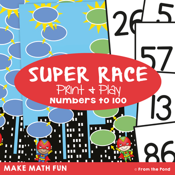 Super Race - Math Center Game for Numbers to 100