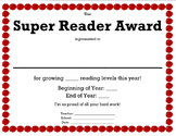 Super Reader Award - TRC Reading Level