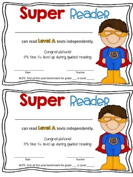 Super Reader Awards for Guided Reading Levels and DRA ...