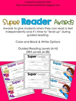 Super Reader Awards for Guided Reading Levels and DRA Levels