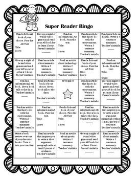 Super Reader Bingo Board