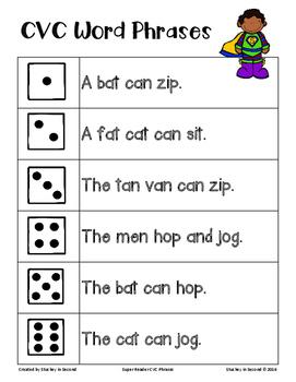 Super Reader CVC Word Fluency Phrase Roll & Read {PRINT & PLAY}