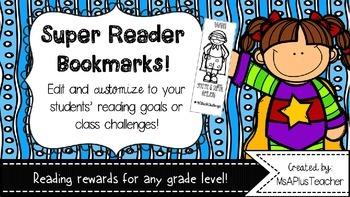 Super Reader {Free & Editable} Bookmarks
