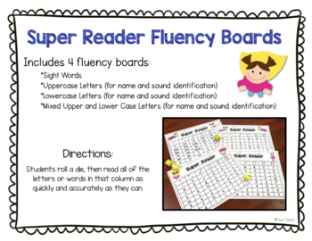 Super Reader Fluency Boards - Sight Words, Letter Names and Sounds