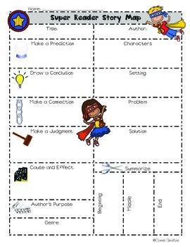 Close Reading Super Reader Story Map (Literary Comprehension Skills)