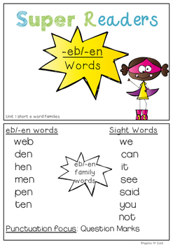 Super Readers -eb/-en/-et Word families Pack