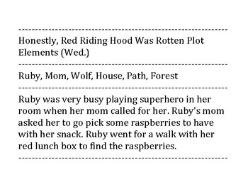 Super Red Riding Hood Plot Element Cards