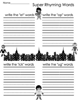 Literacy Center - Super Rhyming Words - Word Families