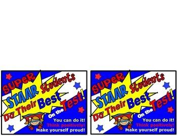 STAAR Standardized  Test Classroom Incentives Motivation Packet Superhero Theme