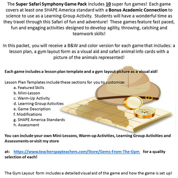 Super Safari Symphony Physical Education Games Packet Resources