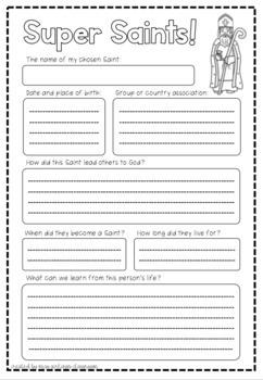Super Saints Research Sheet