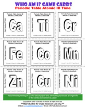 Super Saver Bundle - Who Am I? Game- Periodic Table Puzzlers & Cards