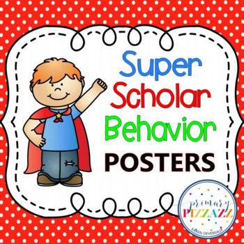 Super Scholar Behavior Posters - polka dot background