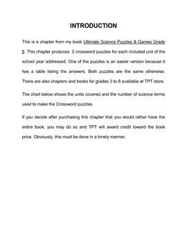 Super Science Crossword  Grade 4