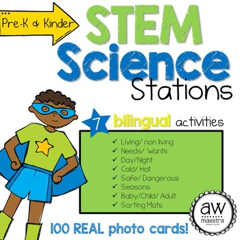 Super Science Sorting Activity with 100 REAL Photos, bilingual Spanish English