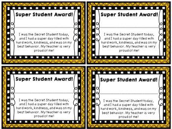 Super Secret Student Award! by Jesye Streisel | Teachers Pay Teachers