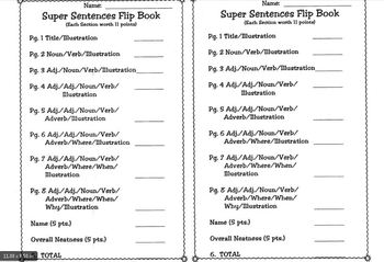 Super Sentence Flipbook - Make a super sentence by adding details