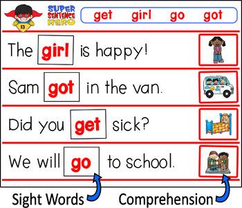 Super Sentence Hero - Missing Sight Words