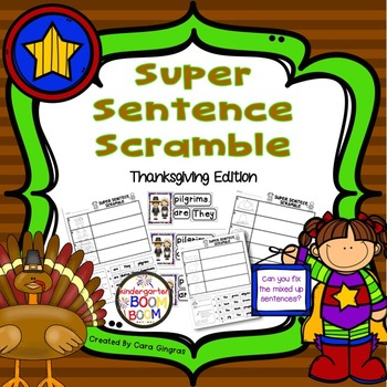 Sentence Order, Super Sentences - Thanksgiving