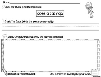 Super Sentence Sleuths- Wonders First Grade Writing/Sentence Correcting Activity