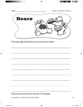 Super Sentence Starter: Bears can fish.