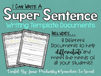 Super Sentence Writing Template for students