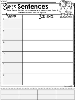 Super Sentences {EDITABLE Spelling or Sight Word Practice}