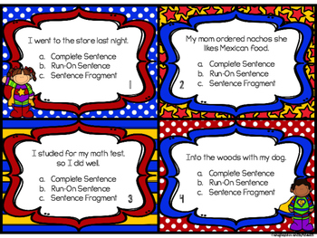 Super Sentences: Identifying Complete Sentences, Sentence Fragments, and Run-Ons